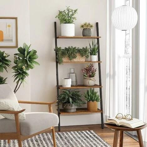 vasagle etagere echelle de style industriel bibliotheque meuble de rangement a 4 niveaux etagere inclinee pour salon cuisine bureau armature en