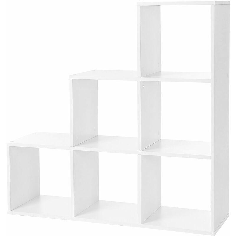 vasagle etagere escalier meuble de rangement 6 compartiments pour bibliotheque salon chambre blanc par songmics lbc63wt white