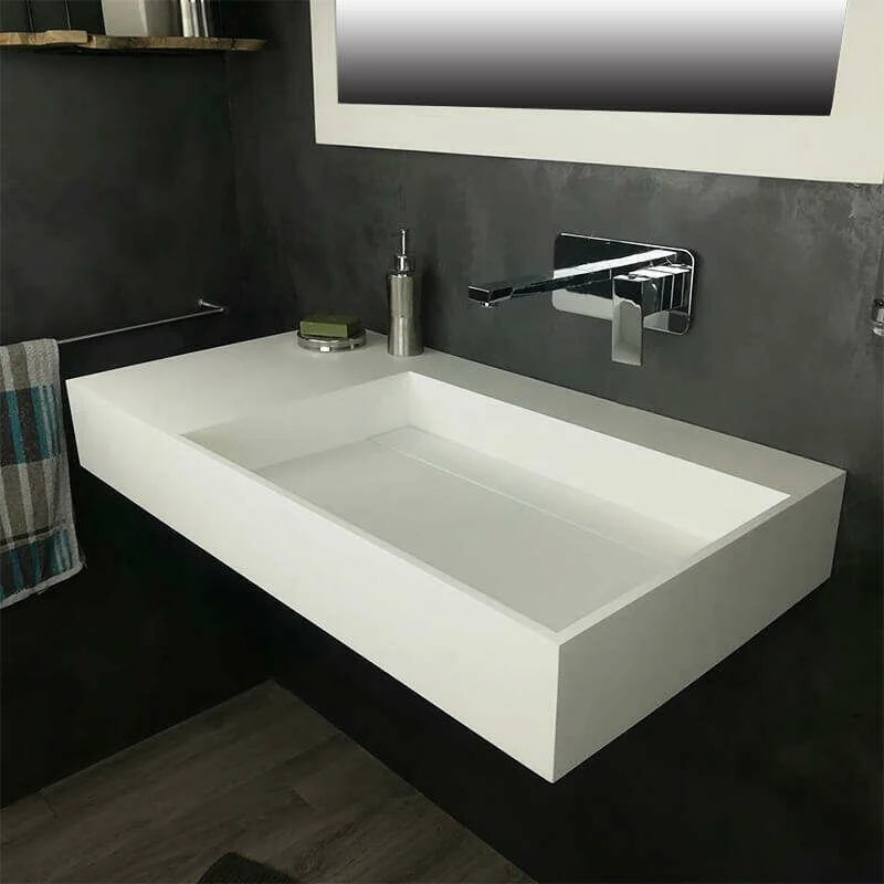 Vasque 90 Cm Suspendue Ou A Poser En Solid Surface Fabiola Ii G Vs Ss 1006g No