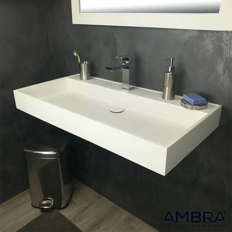 Vasque 90 Cm Suspendue Ou A Poser En Solid Surface Malaga Vs Ss 1016 900