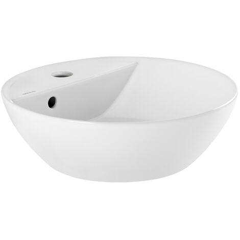 Vasque A Poser Ancoswing Ronde En Ceramique Avec Trop Plein Et Avec Plage De Robinetterie Blanc 635786