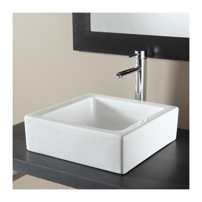 Vasque A Poser Carree En Ceramique Blanc 111066
