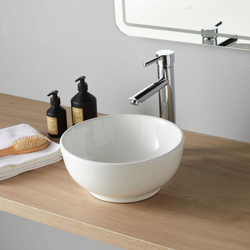 Vasque A Poser En Forme De Bol Et Ceramique Blanche 111044