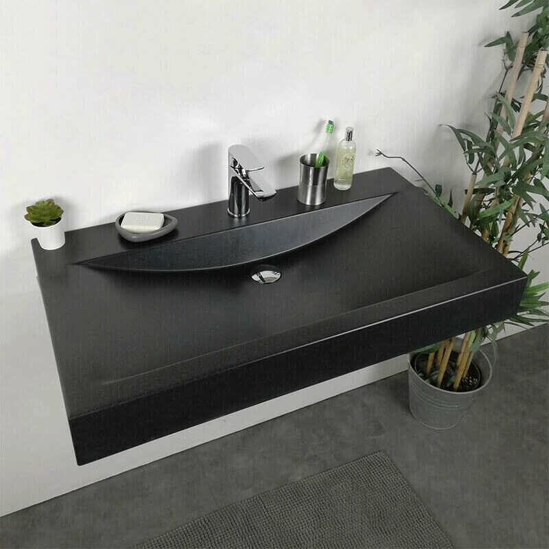 Vasque A Poser Ou A Suspendre 90 Cm Noir En Pierre De Synthese Eva Va Gc 016n