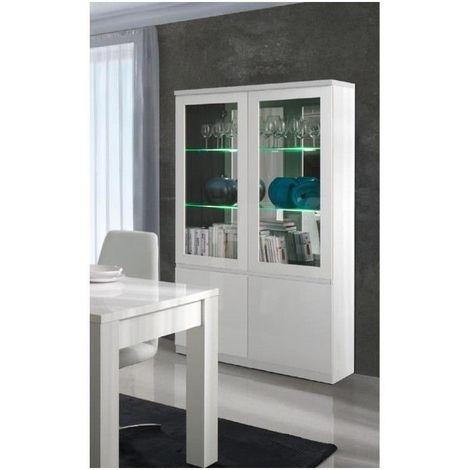 vitrine vaisselier argentier fabio blanc brillant high gloss led meuble design pour votre salon ou salle a manger blanc