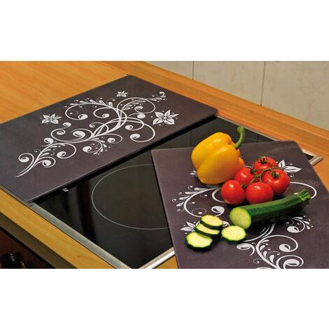 wenko protege plaques de cuisson 3 en 1 motif decoratif 52 x 30 cm lot de 2