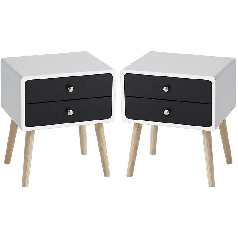 wyctin lot de 2 table de chevet scandinave noir laque satineavec 2 tiroirs table de nuit pieds en bois massif