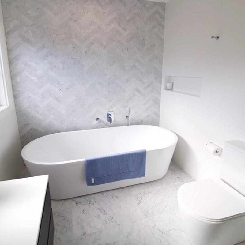 carrara herringbone honed marble mosaic tile