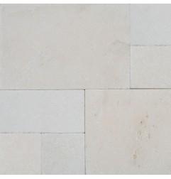 crema luminous french pattern tumbled tile limestone