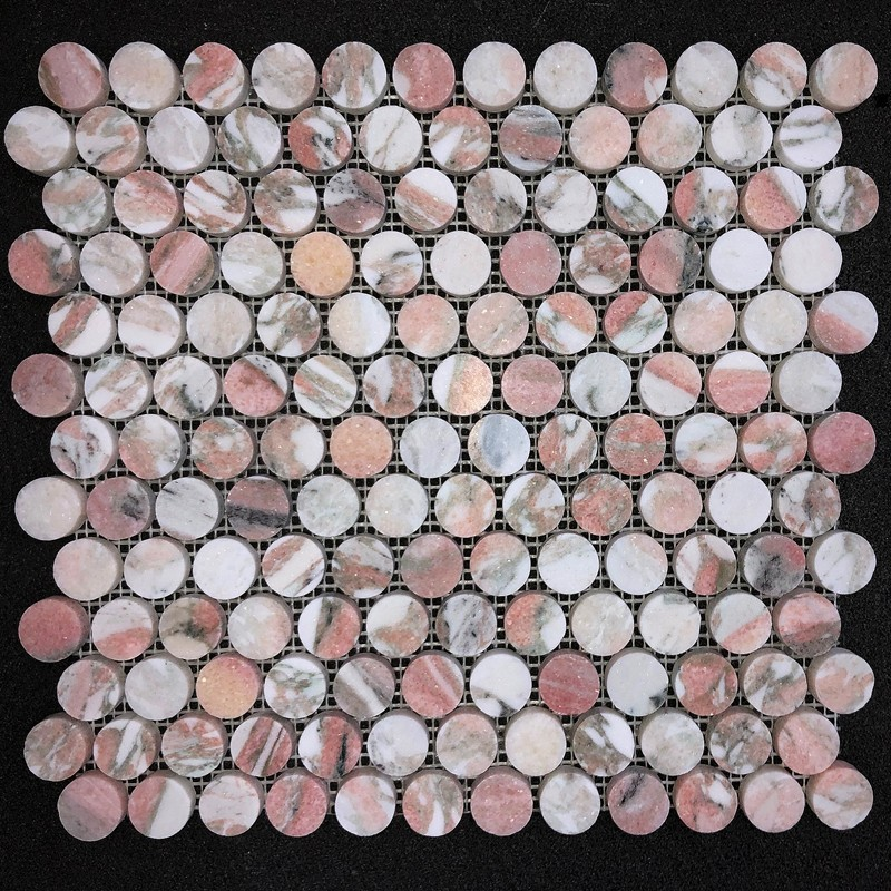 norwegian rose penny round honed marble mosaic 23x23 tiles