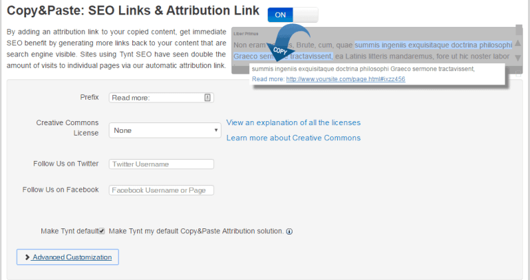 attribution settings