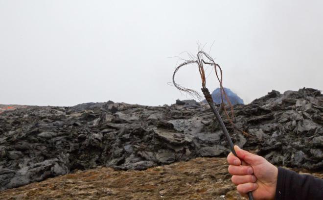 Meðfylgjandi mynd tók Jón Viðar Sigurðsson jarðfræðingur við Geldingadali. Hún …