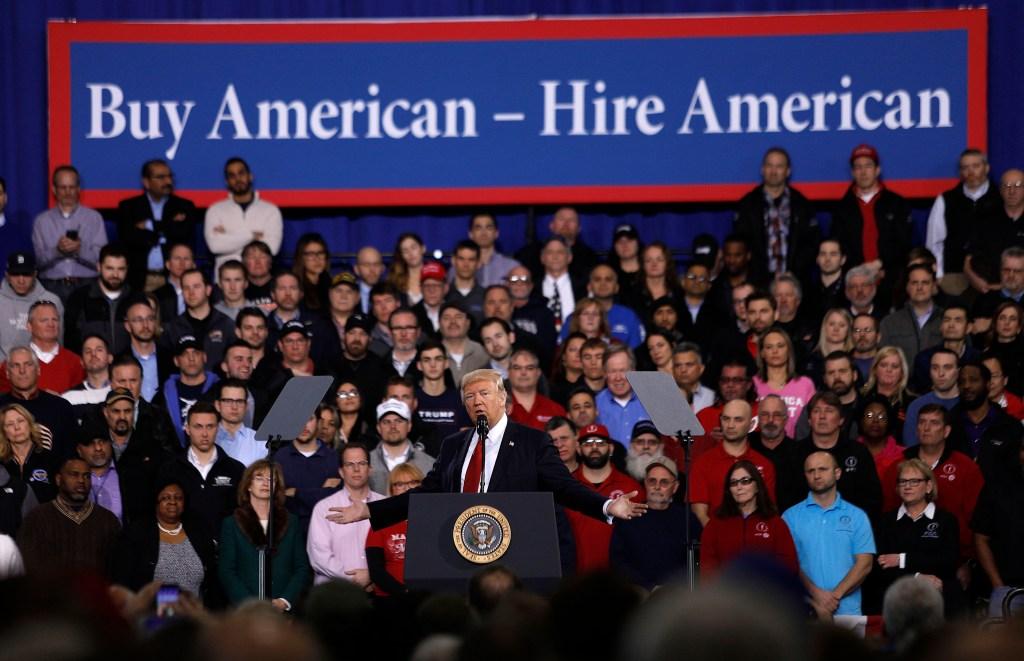 Trump addresses a rally in Ypsilanti, Michigan, on Wednesday. (Bill Pugliano/Getty Images)