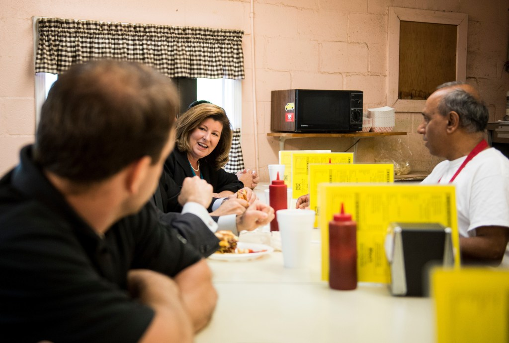 UNITED STATES - APRIL 17: Karen Handel, candidate for the Georgia 6th Congressional district, speaks with diners during a campaign stop at Rhea's restaurant in Roswell, Ga., on Monday, April 17, 2017, one day before the special election to fill Tom Price's seat . (Photo By Bill Clark/CQ Roll Call)