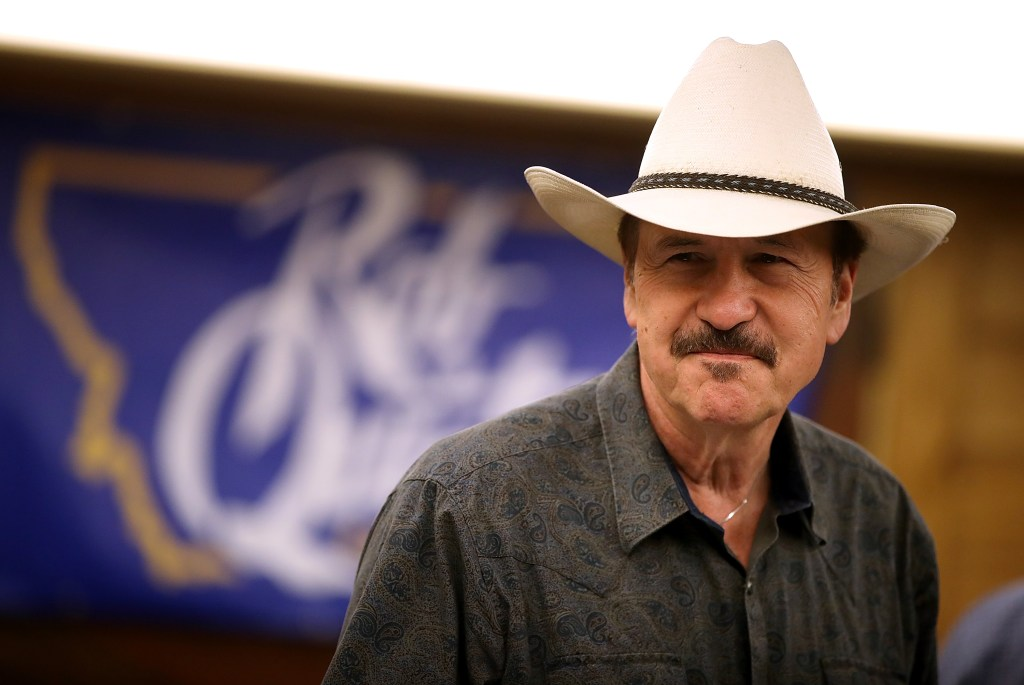 Democrat Rob Quist looks on during a gathering with supporters in Great Falls, Montana, on Monday. (Justin Sullivan/Getty Images)
