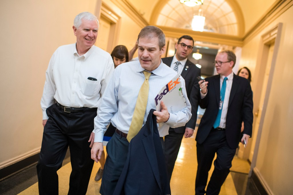 From left, Reps. Mo Brooks, R-Ala., Jim Jordan, R-Ohio, and Justin Amash, R-Mich., leave a meeting of the House Republican Conference in the Capitol. (Tom Williams/CQ Roll Call)