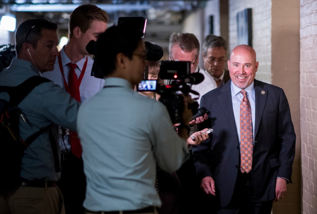 UNITED STATES - MAY 2: Rep. Tom MacArthur, R-N.J., speaks with reporters as he leaves the House Republican Conference meeting in the Capitol on Tuesday, May 2, 2017. (Photo By Bill Clark/CQ Roll Call)