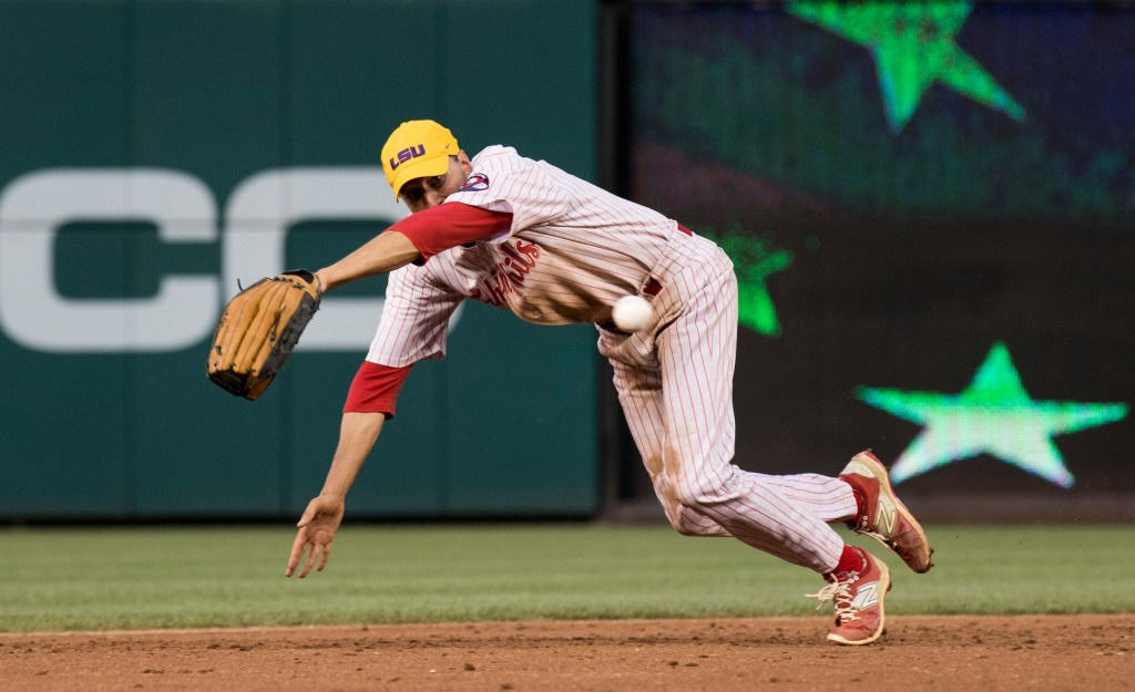 UNITED STATES - JUNE 15: GOP shortstop Rep. Ryan Costello, R-Pa., dives for a ground ball during the 2nd inning of the annual Congressional Baseball Game at Nationals Park in Washington on Thursday, June 15, 2017. (Photo By Bill Clark/CQ Roll Call)