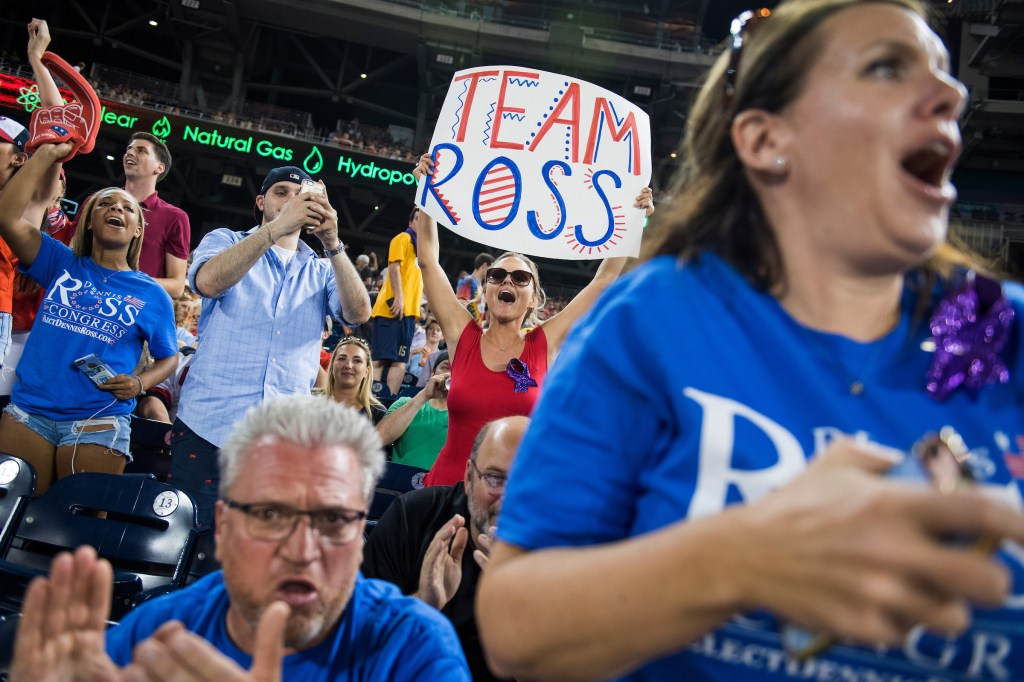 UNITED STATES - JUNE 15: Fans of Rep. Dennis Ross, R-Fla., cheer during the 56th Congressional Baseball Game at Nationals Park on June 15, 2017. (Photo By Tom Williams/CQ Roll Call)