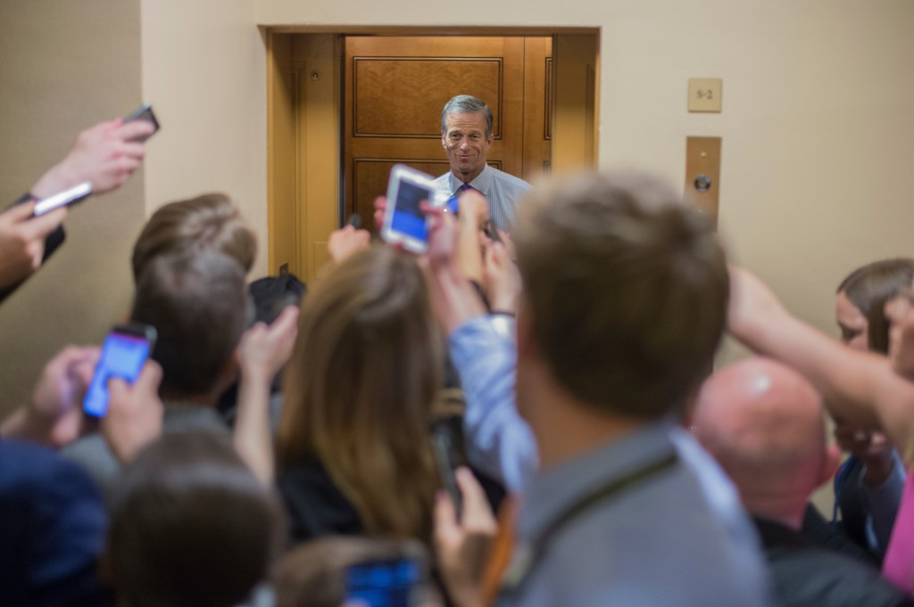 UNITED STATES - JUNE 22: Sen. John Thune, R-S.D., makes his way to a vote in the Capitol on June 22, 2017. (Photo By Tom Williams/CQ Roll Call)