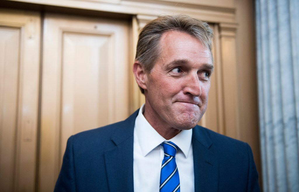 Sen. Jeff Flake, R-Ariz., speaks with reporters after a vote in the Capitol on Thursday, July 20, 2017. (Photo By Bill Clark/CQ Roll Call)