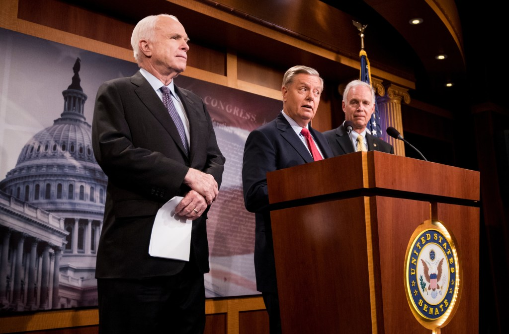 Sens. John McCain, R-Ariz., Lindsey Graham, R-S.C., and Ron Johnson, R-Wis., hold a press conference to demand assurances on the