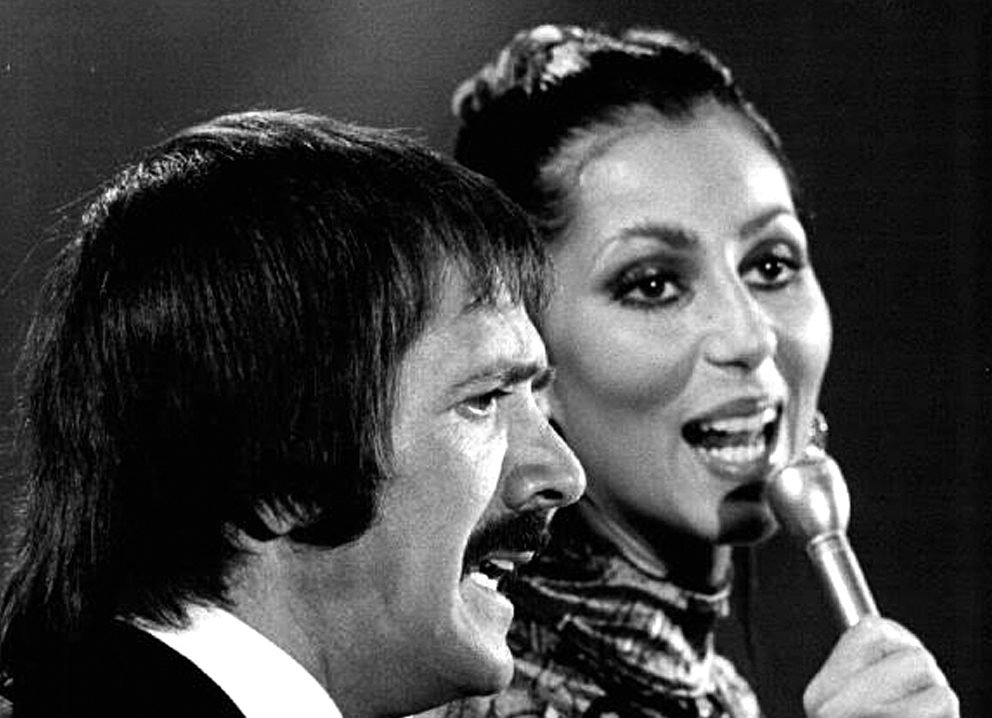 Sonny Bono with Cher on the Sonny and Cher Show in 1976. By CBS (eBay) [Public domain], via Wikimedia Commons