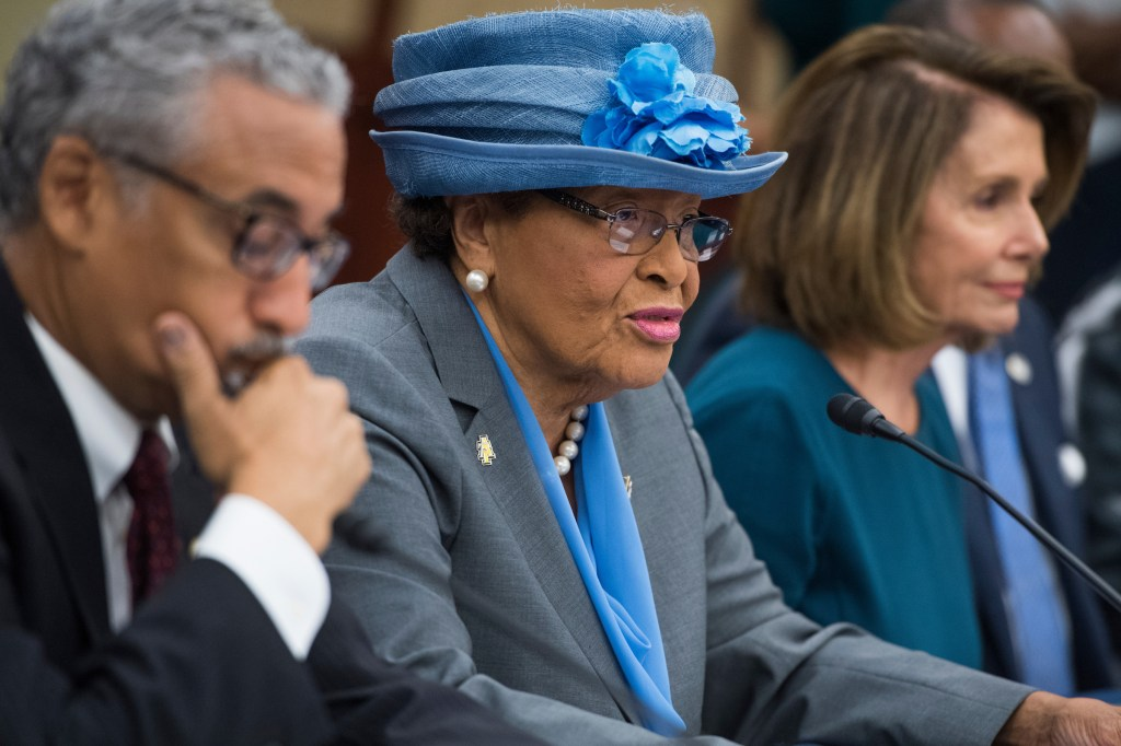 UNITED STATES - SEPTEMBER 20: From left, Reps. Bobby Scott, D-Va., Alma Adams, D-N.C., and House Minority Leader Nancy Pelosi, D-Calif., attend a roundtable in the CVC with heads of Historically Black Colleges and Universities (HBCU) to discuss legislative priorities on September 20, 2017. (Photo By Tom Williams/CQ Roll Call)