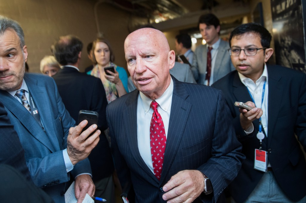 UNITED STATES - SEPTEMBER 13: Rep. Kevin Brady, R-Texas, talks with reporters in the Capitol after a meeting of House Republican Conference on September 13, 2017. (Photo By Tom Williams/CQ Roll Call)