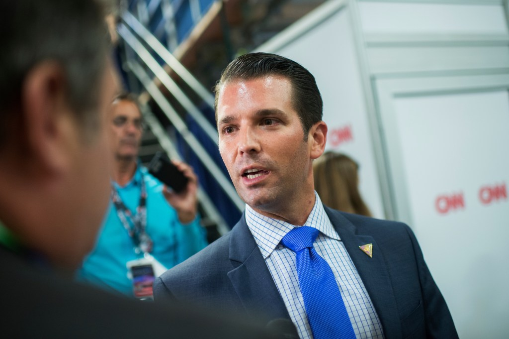 UNITED STATES - JULY 18: Donald Trump Jr., son of presidential candidate Donald Trump is interviewed by CNN's Mark Preston in the Quicken Loans Arena on first day of the Republican National Convention in Cleveland, Ohio, July 18, 2016. (Photo By Tom Williams/CQ Roll Call)
