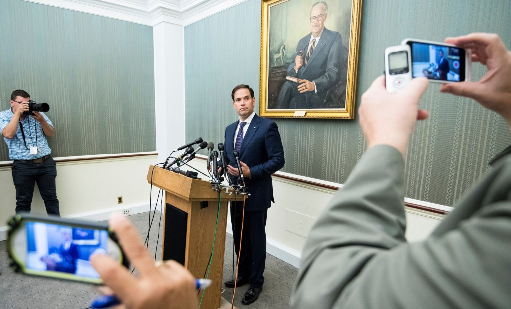UNITED STATES - SEPTEMBER 26: Sen. Marco Rubio, R-Fla., speaks to reporters in the Capitol on Tuesday, Sept. 26, 2017, about hurricane disaster relief for Puerto Rico in the wake of Hurricane Maria. (Photo By Bill Clark/CQ Roll Call)