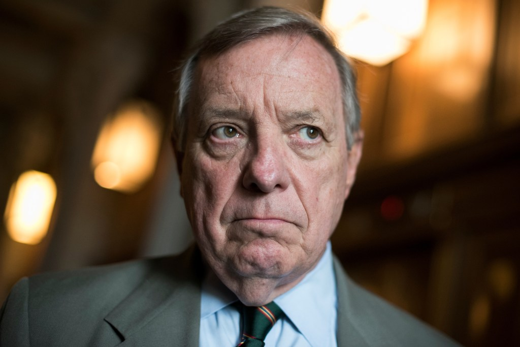 UNITED STATES - SEPTEMBER 12: Senate Minority Whip Richard Durbin, D-Ill., talks with a reporter before the Senate Policy luncheons in the Capitol on September 12, 2017.(Photo By Tom Williams/CQ Roll Call)