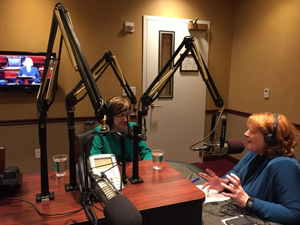 Sen. Heidi Heitkamp, D-N.D., right, interviews Sen. Susan Collins, R-Maine, on her podcast. (Courtesy Heitkamp)