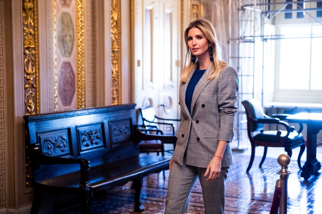 Ivanka Trump walks through the Senate Reception Room in the Capitol before holding a press conference on child tax credits on Wednesday. (Bill Clark/CQ Roll Call)