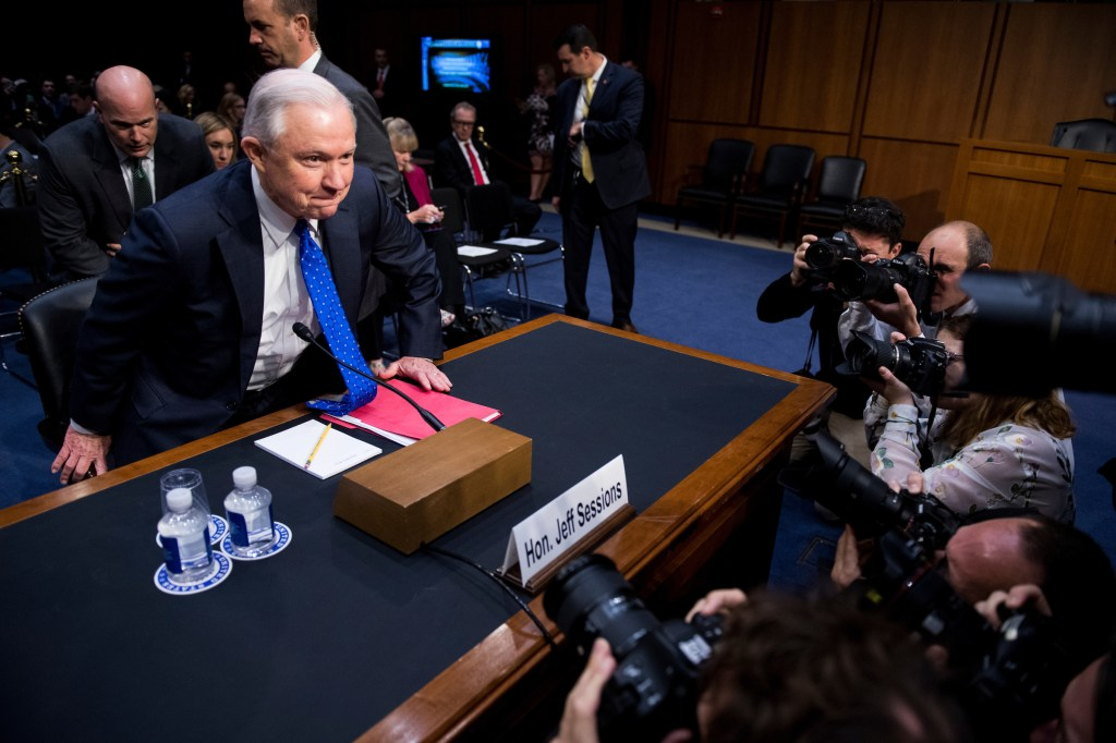 UNITED STATES - OCTOBER 18: Attorney General Jeff Sessions arrives to testify during the Senate Judiciary Committee hearing on Full committee hearing on