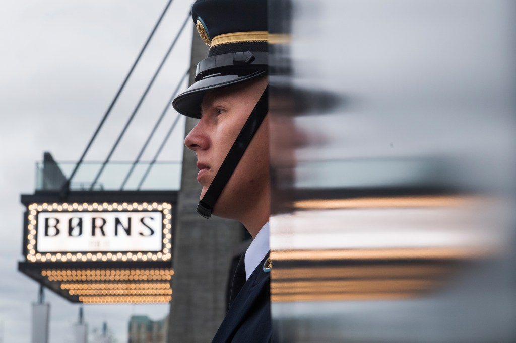 UNITED STATES - OCTOBER 12: A member of the Honor Guard waits to present the colors during the opening ceremony of the Wharf complex along Maine Avenue, SW, on October 12, 2017. (Photo By Tom Williams/CQ Roll Call)