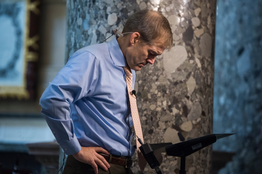 UNITED STATES - DECEMBER 06: Rep. Jim Jordan, R-Ohio, is interviewed in the Capitol's Statuary Hall on December 6, 2017. (Photo By Tom Williams/CQ Roll Call)