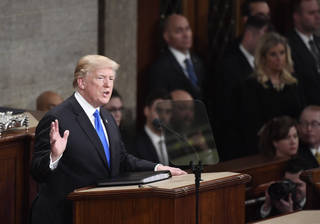 President Donald Trump speaks at Tuesday night's State of the Union. (Bill Clark/CQ Roll Call)