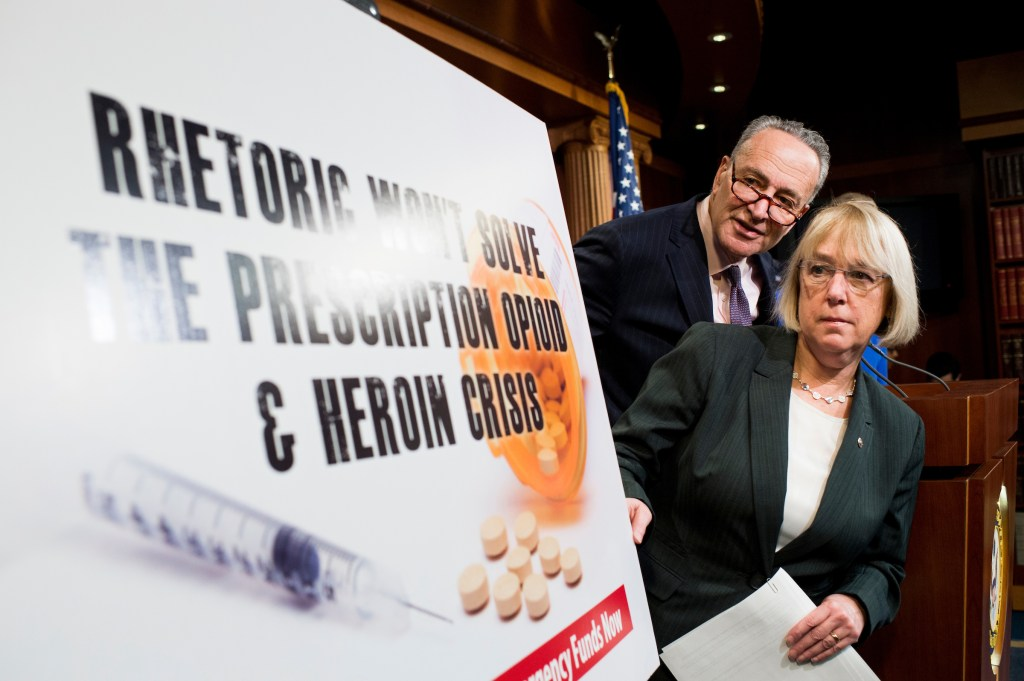 UNITED STATES - FEBRUARY 11: Sen. Patty Murray, D-Wash., and Sen. Chuck Schumer, D-N.Y., participate in the Senate Democrats' news conference to