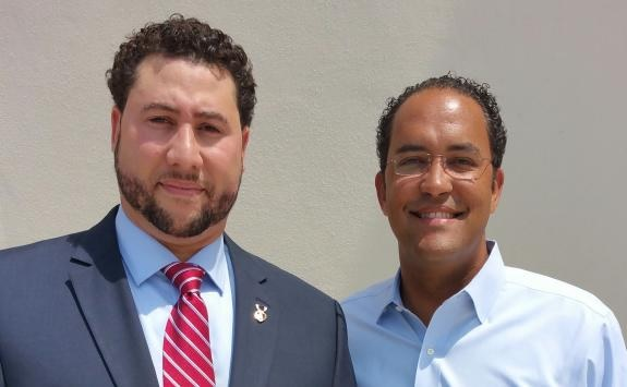 Arnold, left, started as a fellow in Hurd's office in 2015. (Courtesy cao.house.gov)