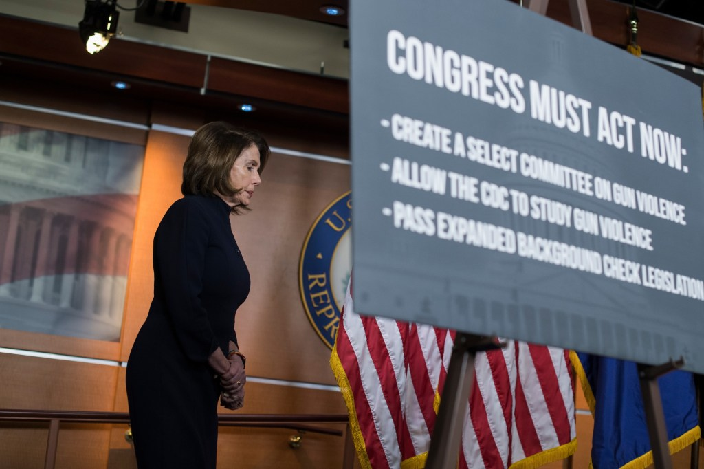 UNITED STATES - FEBRUARY 15: House Minority Leader Nancy Pelosi, D-Calif., conducts a news conference on gun violence in the Capitol Visitor Center on February 15, 2018. (Photo By Tom Williams/CQ Roll Call)