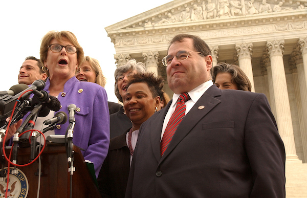 2003: Rep. Louise Slaughter, D-N.Y., left, along with Rep. Jerry Nadler, D-N.Y., along with roughly ten other Reps. hold a press conference in front of the Supreme Court, to condemn President Bush for signing the so-called Partial Birth Abortion Ban Act.