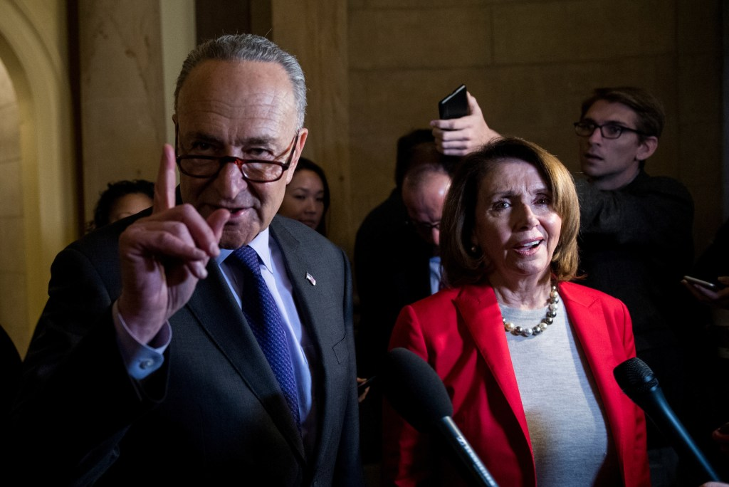 Senate Minority Leader Chuck Schumer, D-N.Y., and House Minority Leader Nancy Pelosi, D-Calif., speak to reporters following a meeting of House and Senate leaders in Speaker Ryan's office on the $1.3 trillion fiscal 2018 omnibus appropriations bill on Wednesday, March 21, 2018. (Photo By Bill Clark/CQ Roll Call)