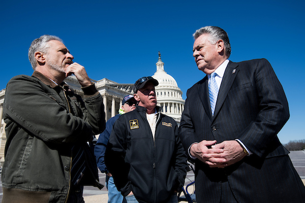UNITED STATES - MARCH 5: Comedian Jon Stewart, left, speaks with Rep. Peter King, R-N.Y., before the start of the press conference on Monday, March 5, 2018, to call on OMB Director Mick Mulvaney to withdraw his proposal to separate the World Trade Center Health Program (WTCHP) from National Institute of Occupational Safety and Health (NIOSH) direction. (Photo By Bill Clark/CQ Roll Call)