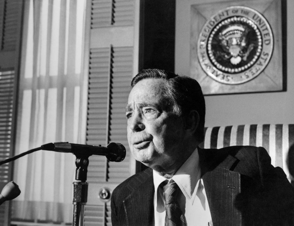 Speaker of the House, Rep. Carl Bert Albert, D-Okla., giving speech over microphone. (Dev O'Neill/CQ Roll Call File Photo)