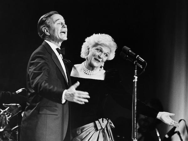 George Bush and Barbara Bush at Stripes Inauguration Ball. February 4, 1989 (Photo by Andrea Mohin/CQ Roll Call)