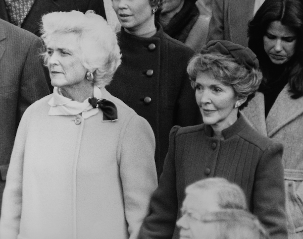 Wife of President Ronald Reagan, Nancy Reagan with wife of Vice President George W. Bush, Barbara Bush on the Capitol Hill. 1981 (Photo by CQ Roll Call via Getty Images)