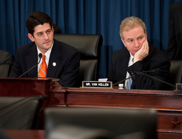 Chairman Paul D. Ryan, R-Wis., and ranking member Chris Van Hollen, D-Md., during the House Budget hearing with Federal Reserve Chairman Ben S. Bernanke on the state of the U.S. economy. (Scott J. Ferrell/CQ Roll Call file photo)