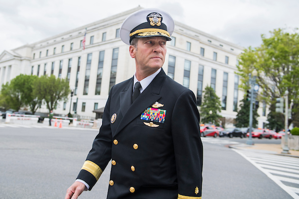 UNITED STATES - APRIL 24: Rear Adm. Ronny Jackson, nominee for Veterans Affairs secretary, leaves Dirksen Building after a meeting with Sen. Jerry Moran, R-Kan., on April 24, 2018. (Photo By Tom Williams/CQ Roll Call)