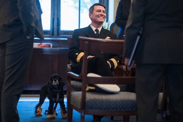 Dr. Ronny Jackson, nominee for Secretary of Veterans Affairs, arrives for a meeting with Sen. Johnny Isakson, R-Ga., in Russell Building on April 16, 2018. Isakson is the chairman of the Senate Committee on Veterans' Affairs. (Photo By Tom Williams/CQ Roll Call)